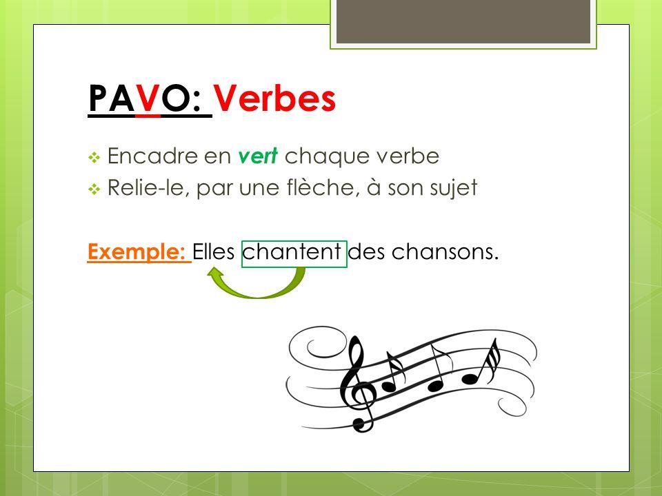PAVO: Verbes Encadre en vert chaque verbe