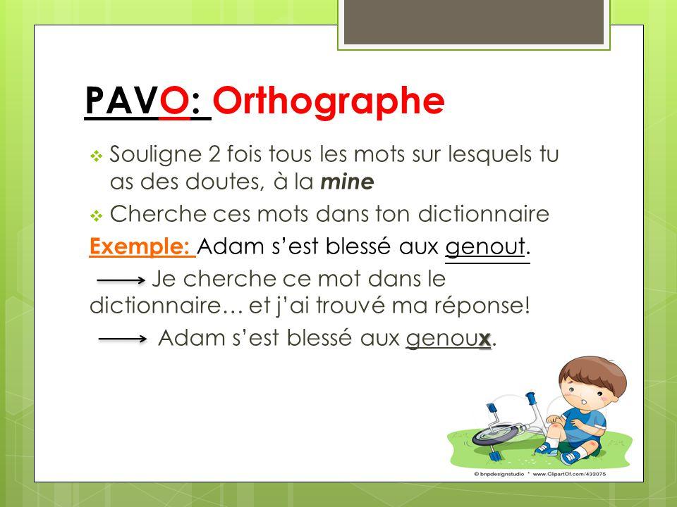 PAVO: Orthographe Souligne 2 fois tous les mots sur lesquels tu as des doutes, à la mine. Cherche ces mots dans ton dictionnaire.
