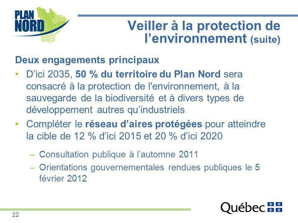 Veiller à la protection de l'environnement (suite)