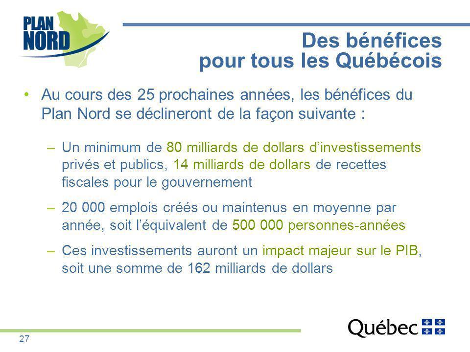 Des bénéfices pour tous les Québécois