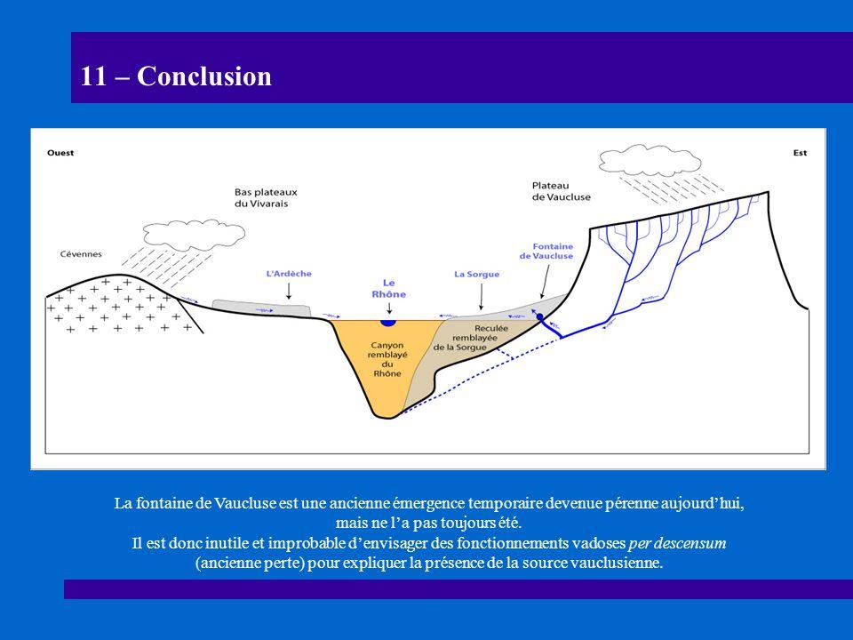 11 – Conclusion La fontaine de Vaucluse est une ancienne émergence temporaire devenue pérenne aujourd'hui, mais ne l'a pas toujours été.