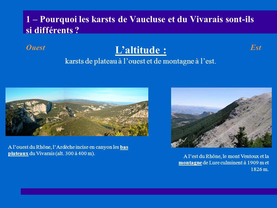 karsts de plateau à l'ouest et de montagne à l'est.