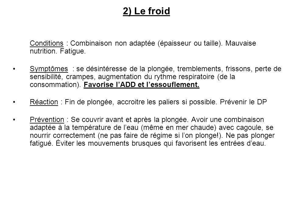 2) Le froid Conditions : Combinaison non adaptée (épaisseur ou taille). Mauvaise nutrition. Fatigue.