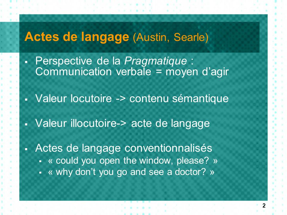 Actes de langage (Austin, Searle)