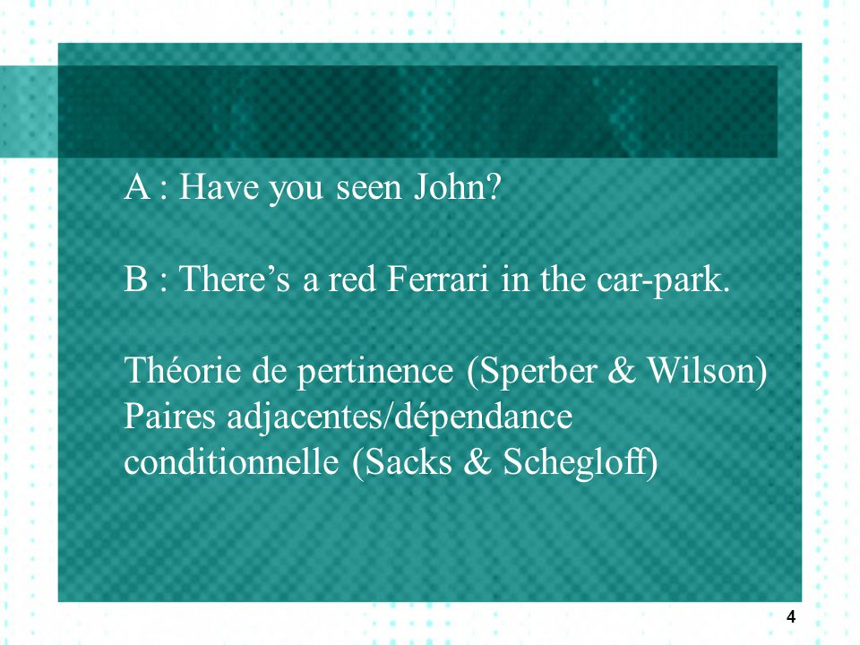 A : Have you seen John B : There's a red Ferrari in the car-park. Théorie de pertinence (Sperber & Wilson)
