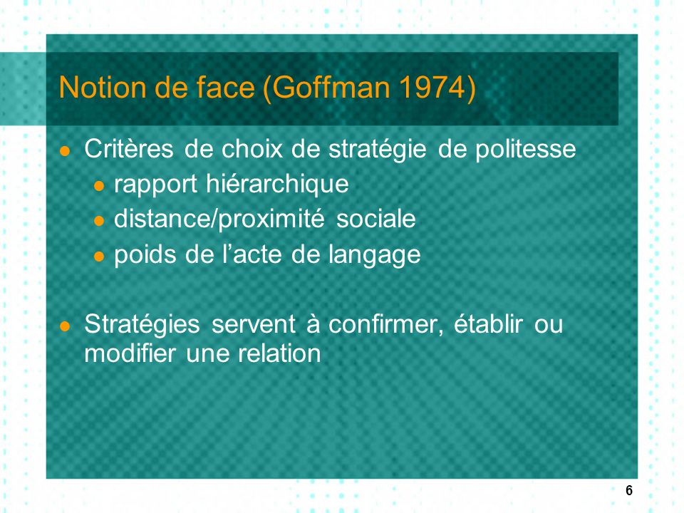 Notion de face (Goffman 1974)