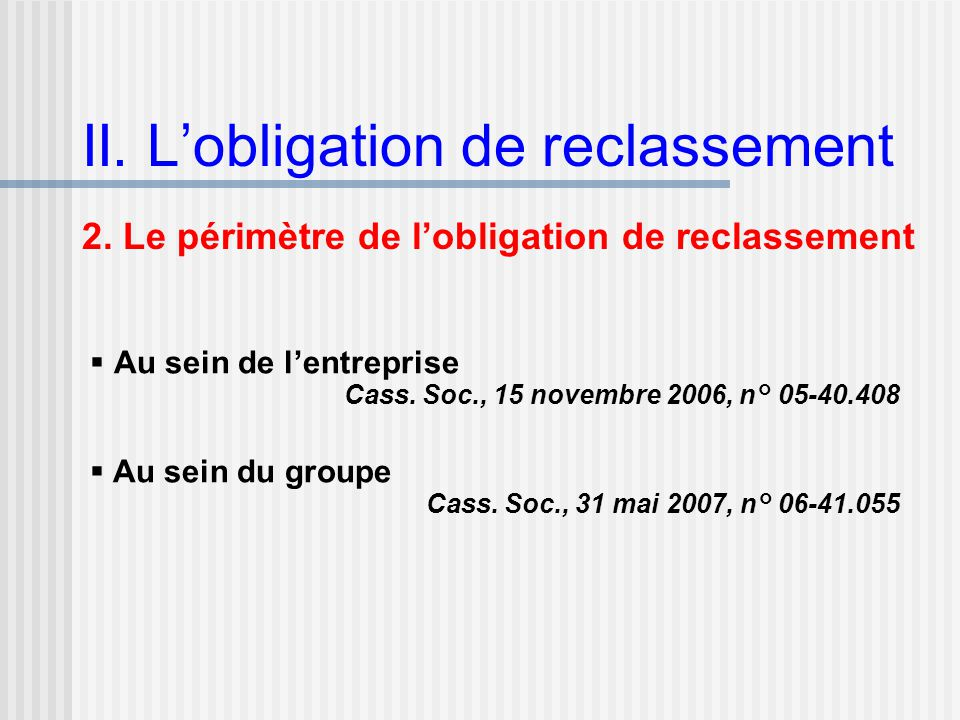 II. L'obligation de reclassement