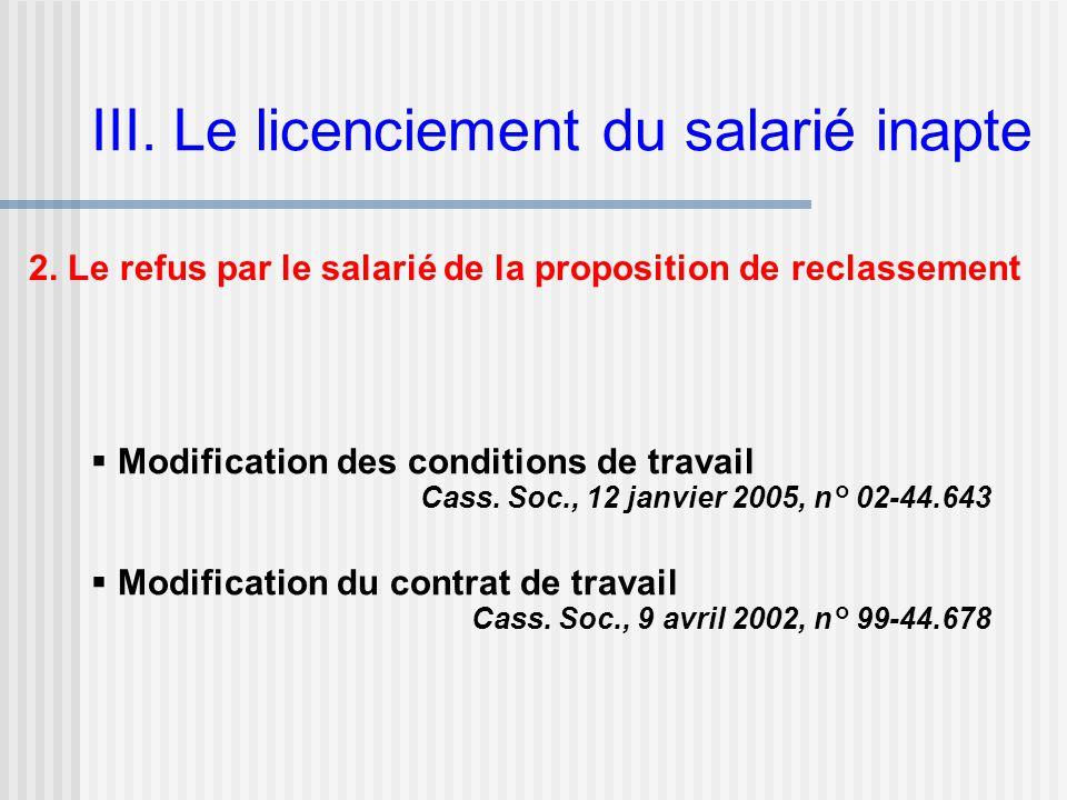 III. Le licenciement du salarié inapte