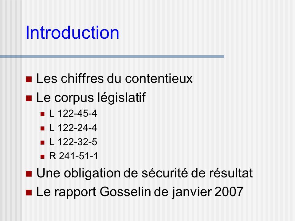 Introduction Les chiffres du contentieux Le corpus législatif