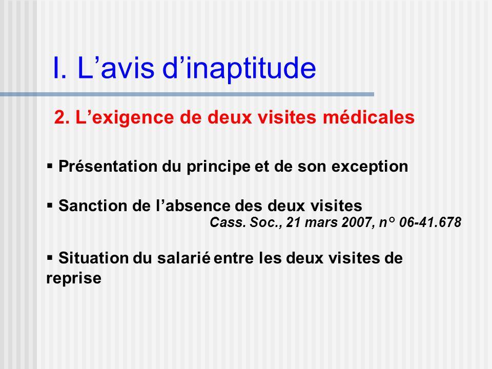 I. L'avis d'inaptitude 2. L'exigence de deux visites médicales