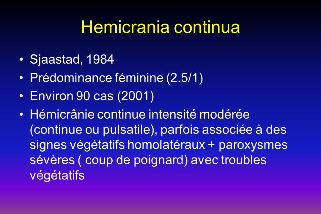 Hemicrania continua Sjaastad, 1984 Prédominance féminine (2.5/1)
