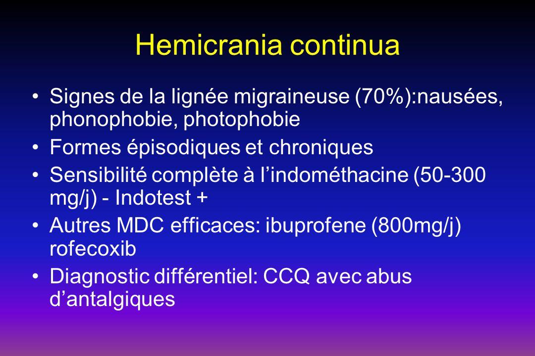 Hemicrania continua Signes de la lignée migraineuse (70%):nausées, phonophobie, photophobie. Formes épisodiques et chroniques.