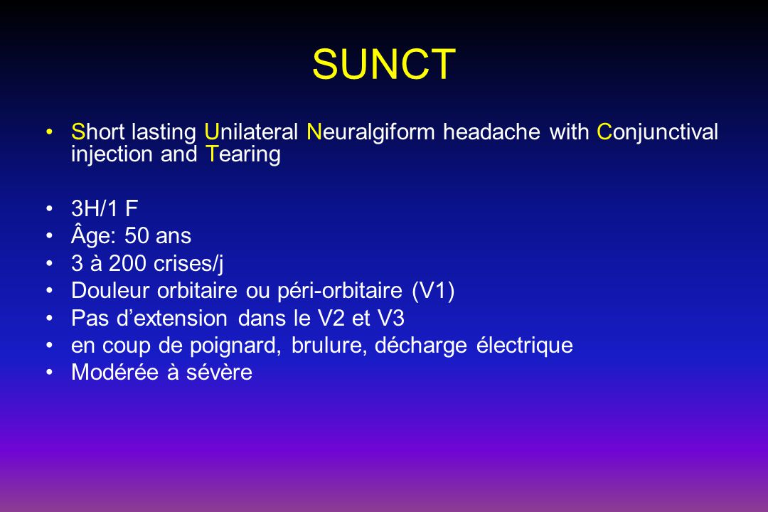 SUNCT Short lasting Unilateral Neuralgiform headache with Conjunctival injection and Tearing. 3H/1 F.