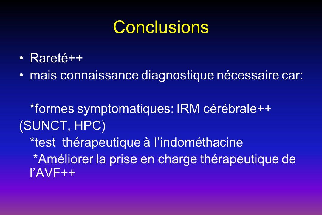 Conclusions Rareté++ mais connaissance diagnostique nécessaire car: