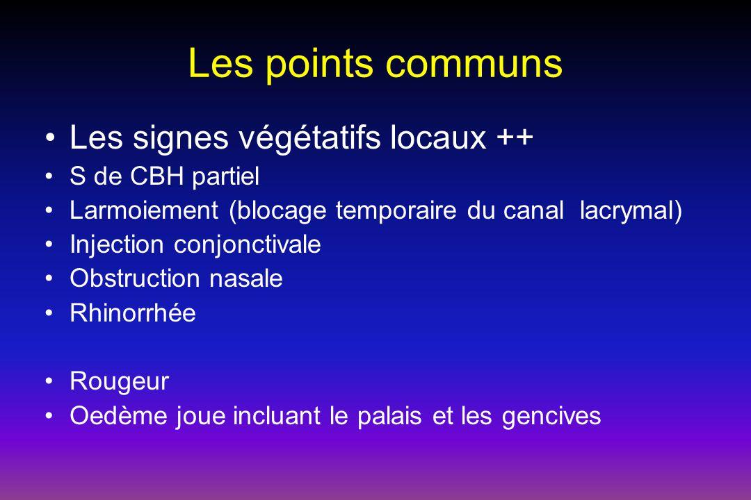 Les points communs Les signes végétatifs locaux ++ S de CBH partiel