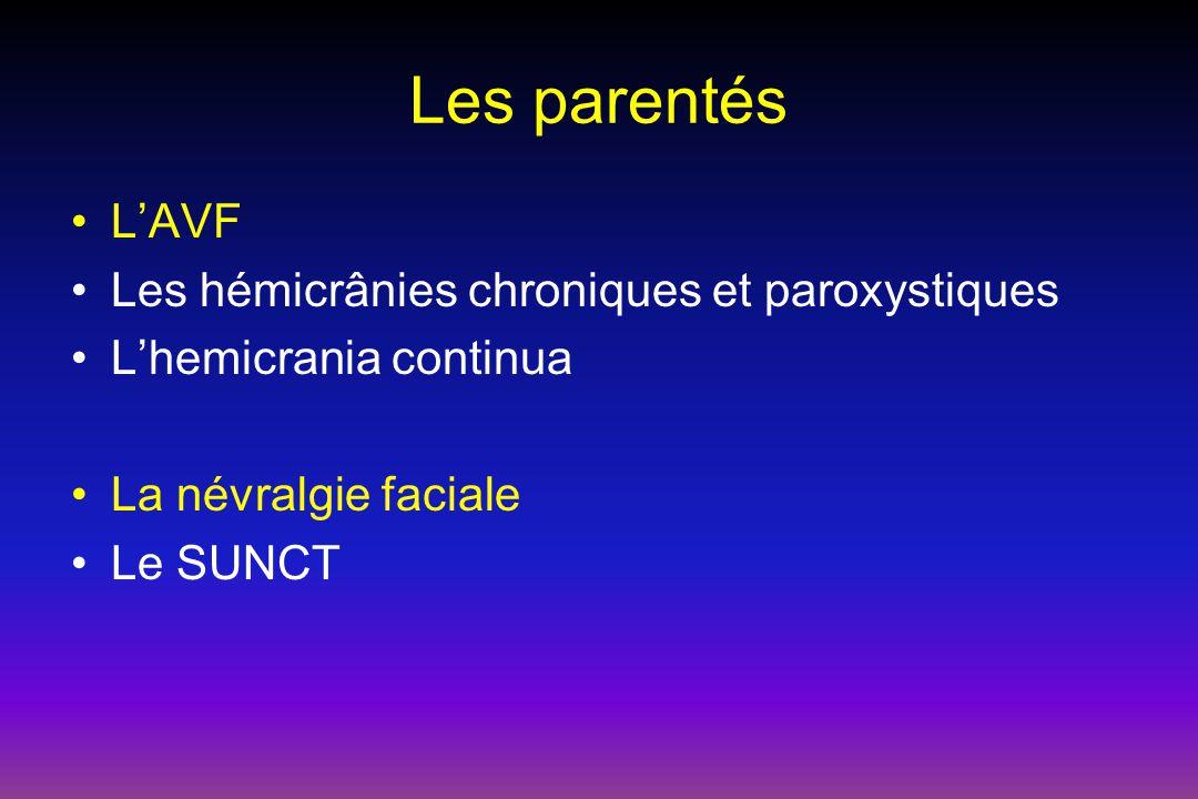 Les parentés L'AVF Les hémicrânies chroniques et paroxystiques