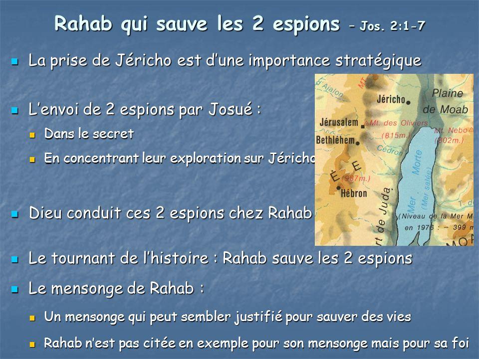 Rahab qui sauve les 2 espions – Jos. 2:1-7