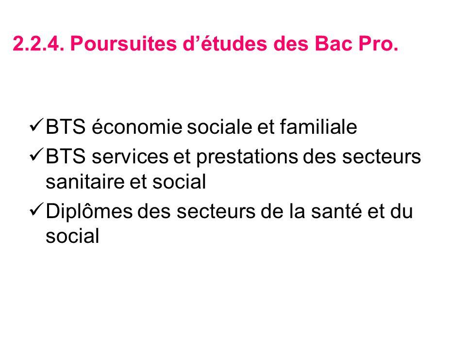 2.2.4. Poursuites d'études des Bac Pro.