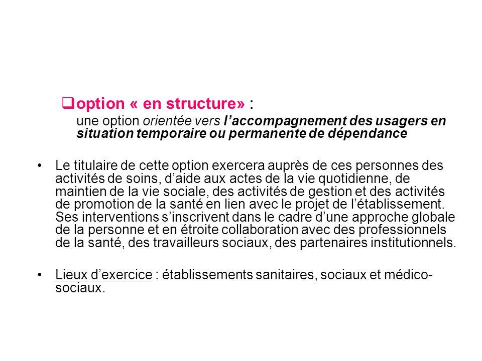 option « en structure» :