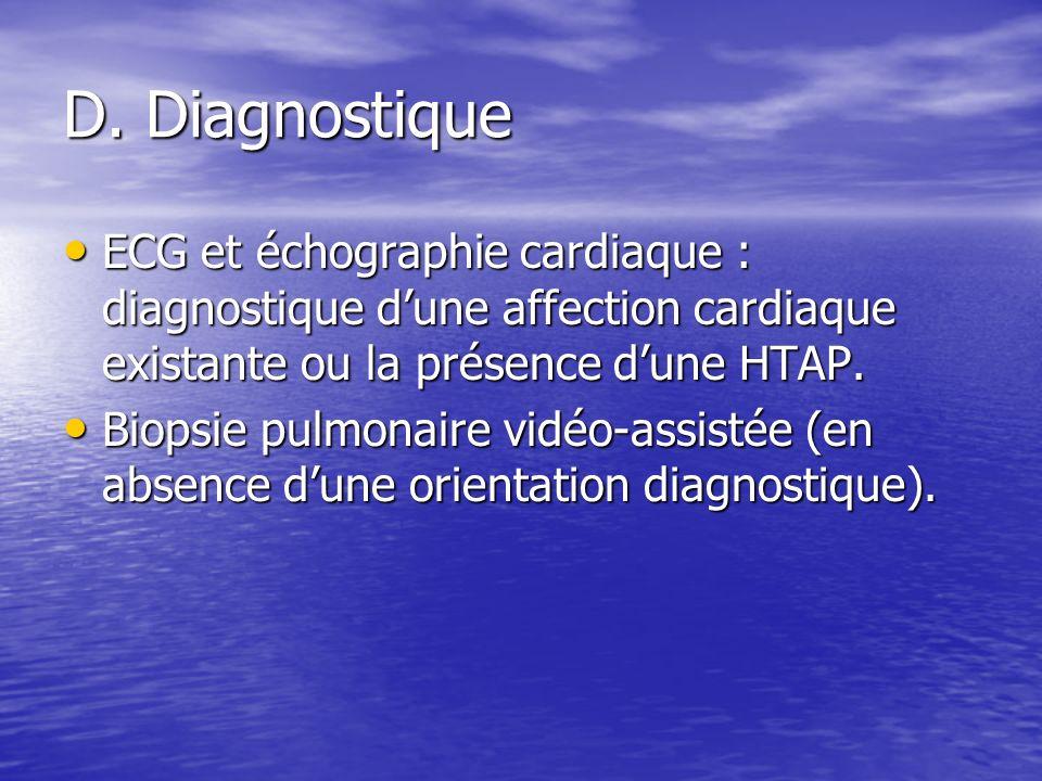D. Diagnostique ECG et échographie cardiaque : diagnostique d'une affection cardiaque existante ou la présence d'une HTAP.