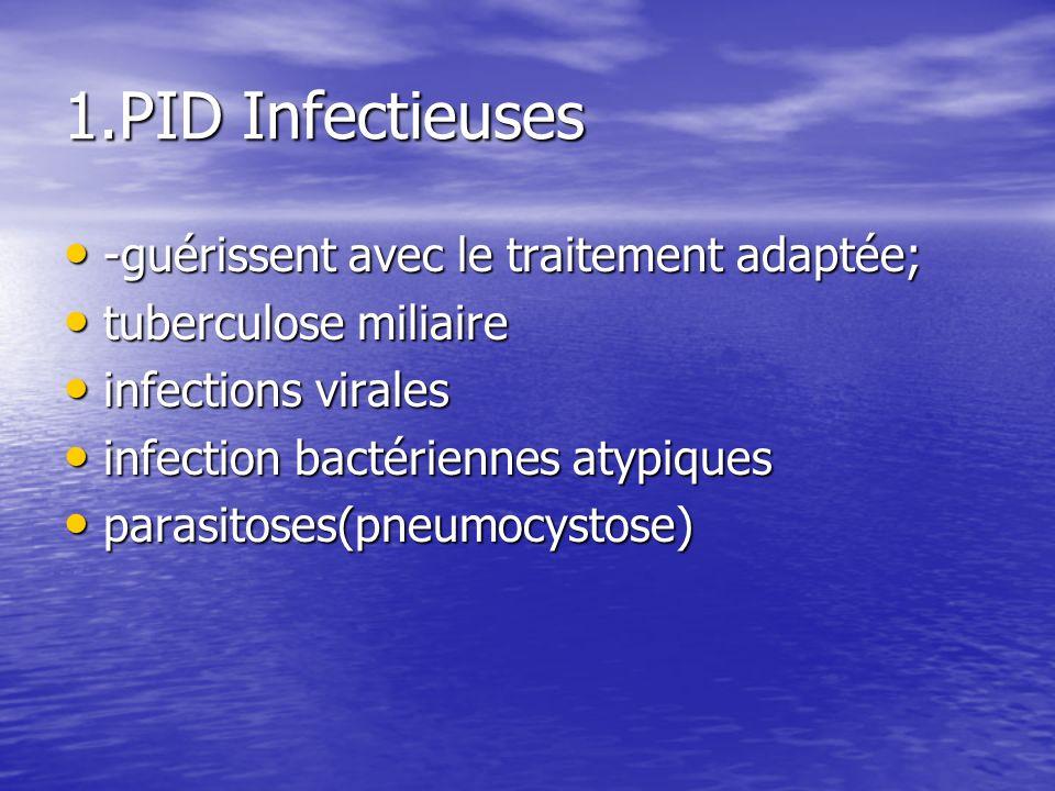 1.PID Infectieuses -guérissent avec le traitement adaptée;