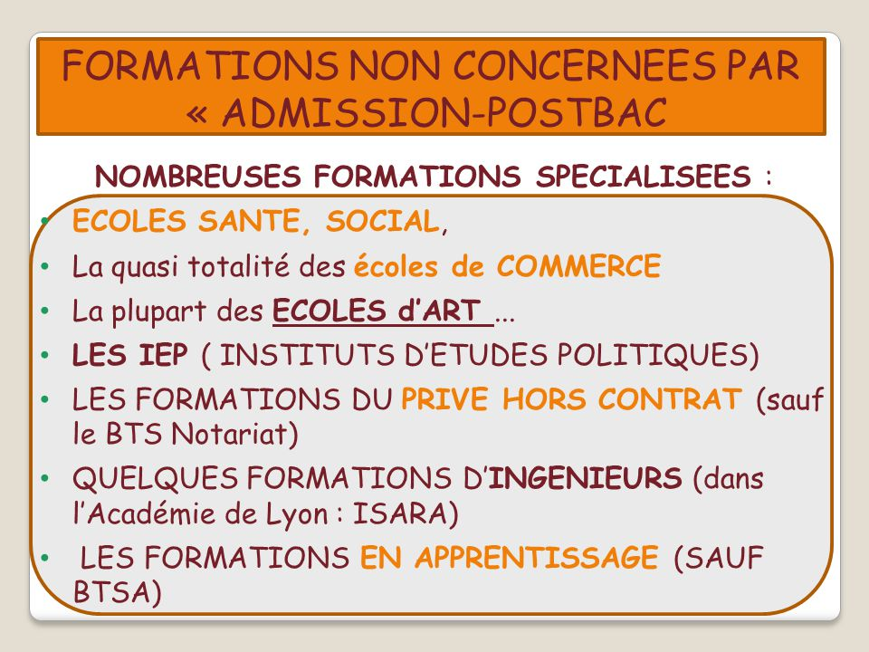 FORMATIONS NON CONCERNEES PAR « ADMISSION-POSTBAC