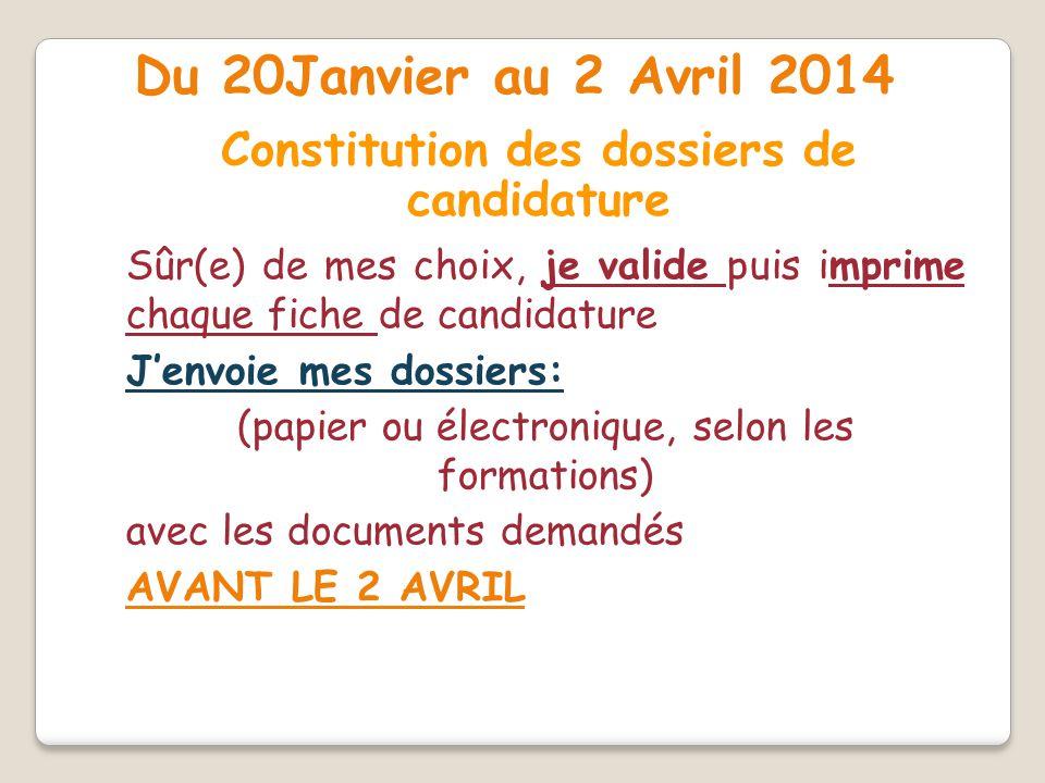 Constitution des dossiers de candidature