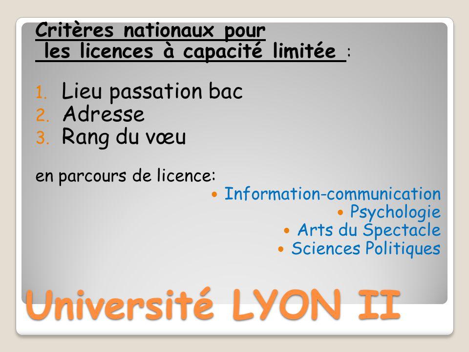 Université LYON II Lieu passation bac Adresse Rang du vœu