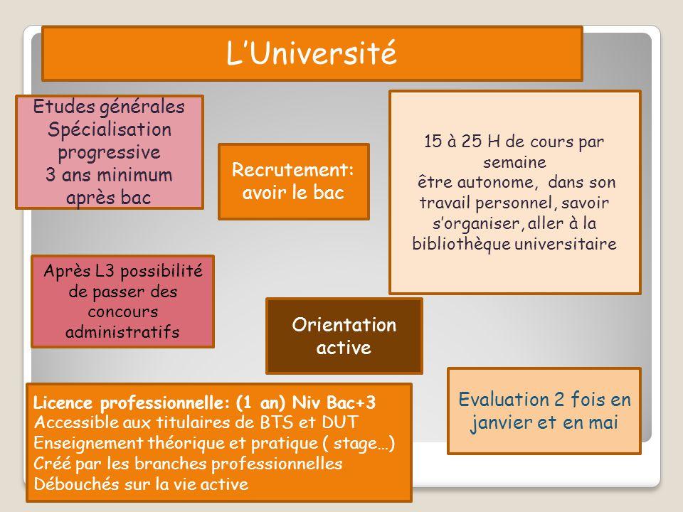 L'Université Etudes générales Spécialisation progressive