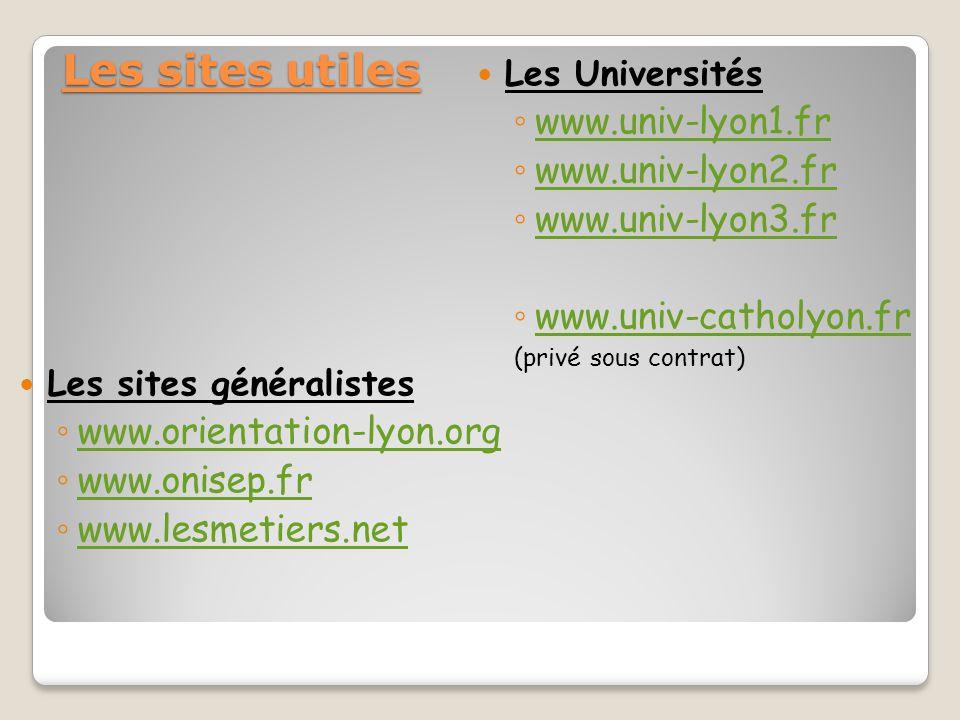 Les sites utiles www.univ-lyon1.fr www.univ-lyon2.fr www.univ-lyon3.fr