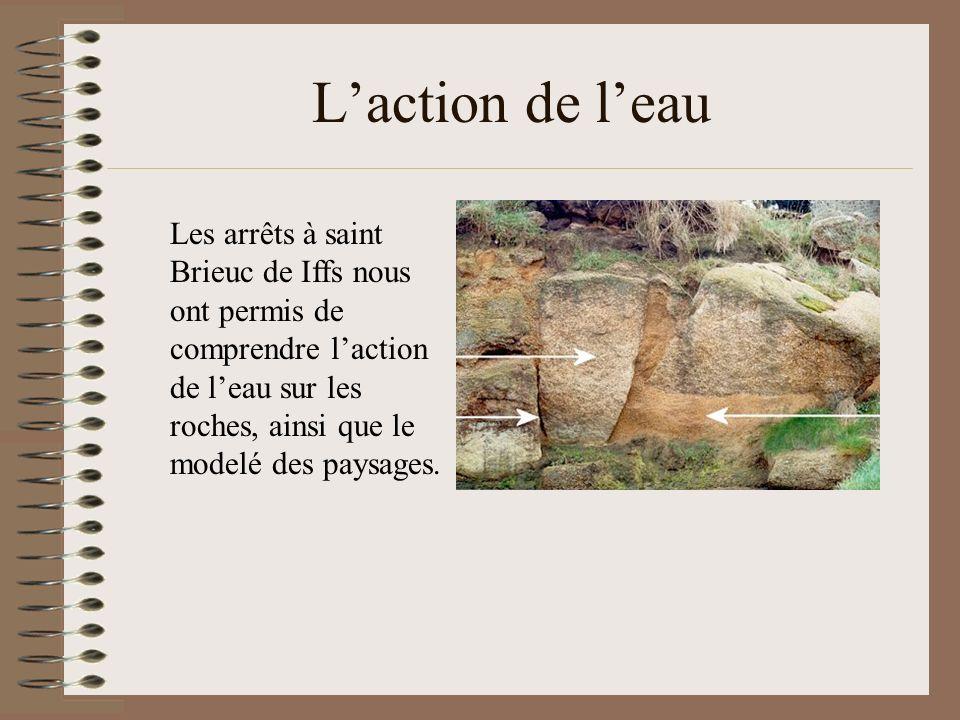 L'action de l'eau Les arrêts à saint Brieuc de Iffs nous ont permis de comprendre l'action de l'eau sur les roches, ainsi que le modelé des paysages.