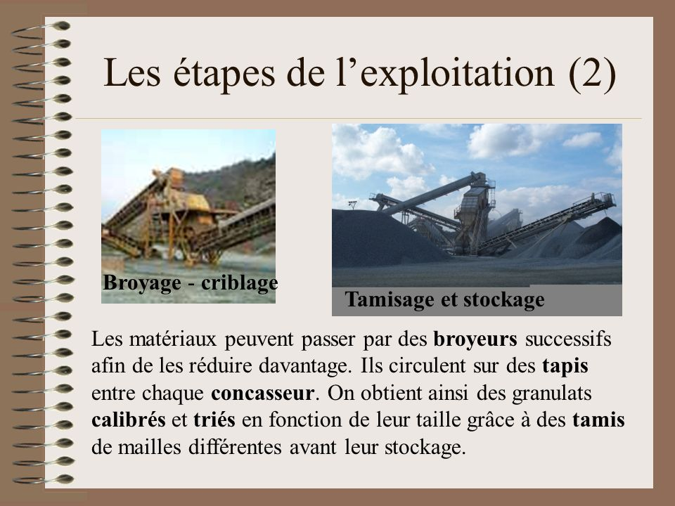 Les étapes de l'exploitation (2)