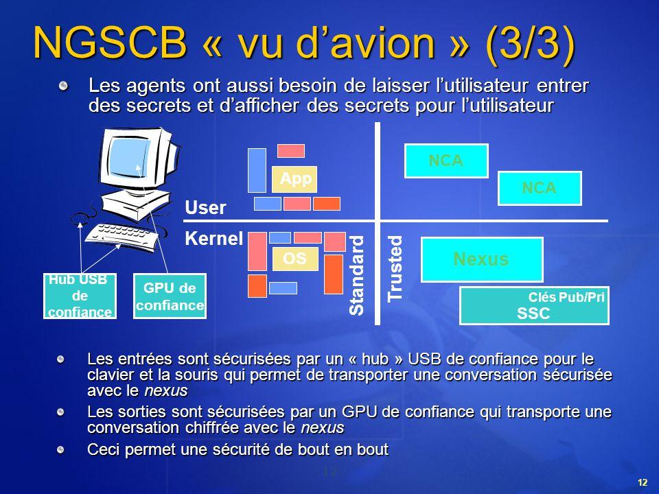 NGSCB « vu d'avion » (3/3) Les agents ont aussi besoin de laisser l'utilisateur entrer des secrets et d'afficher des secrets pour l'utilisateur.