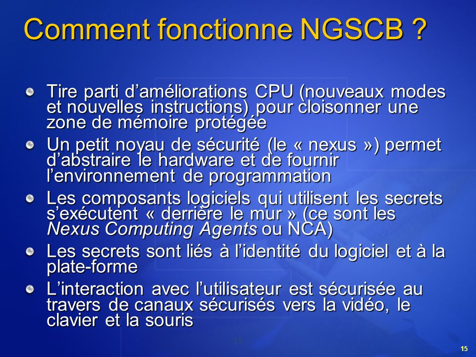 Comment fonctionne NGSCB