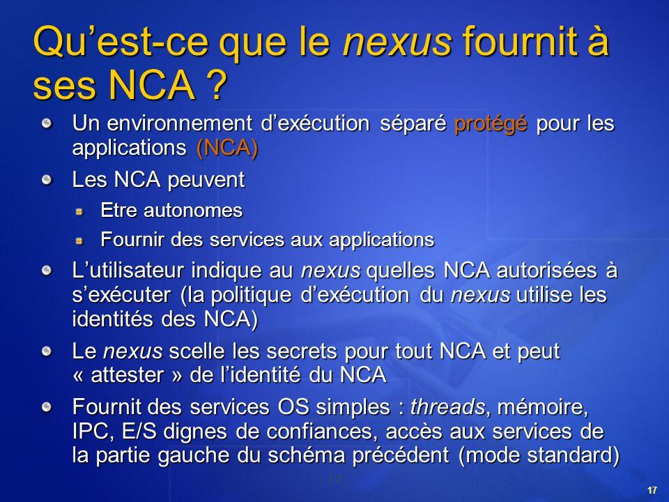 Qu'est-ce que le nexus fournit à ses NCA
