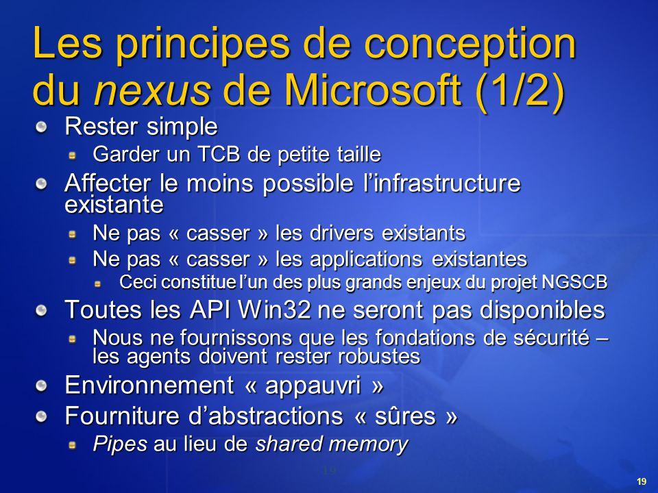 Les principes de conception du nexus de Microsoft (1/2)