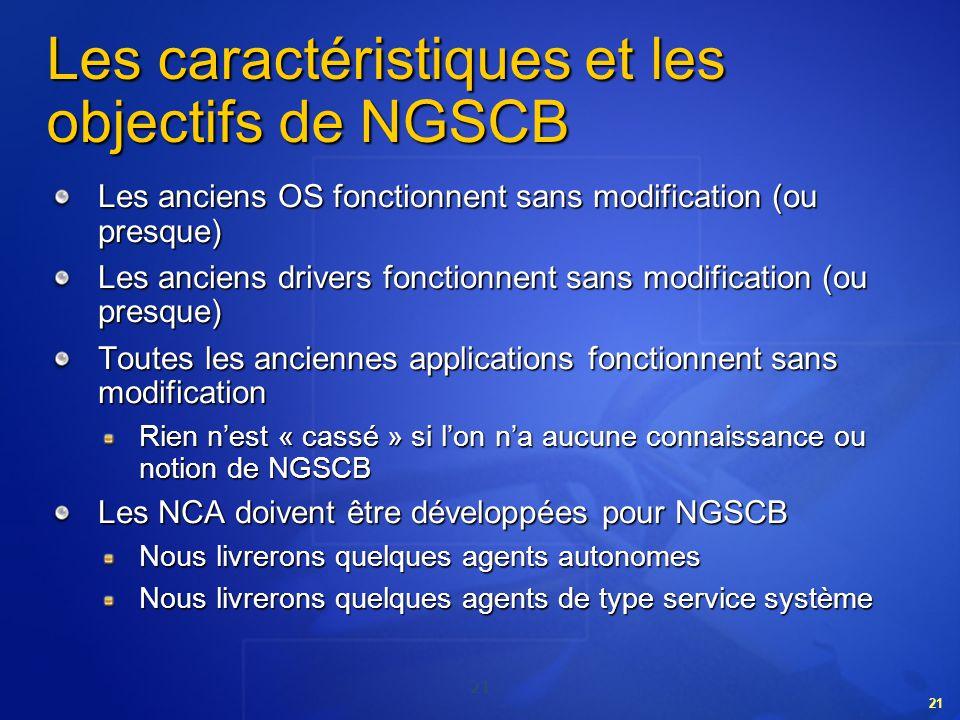 Les caractéristiques et les objectifs de NGSCB