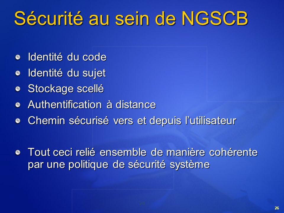 Sécurité au sein de NGSCB