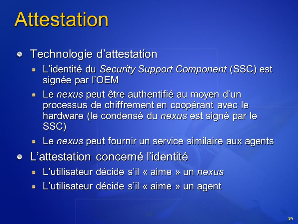 Attestation Technologie d'attestation