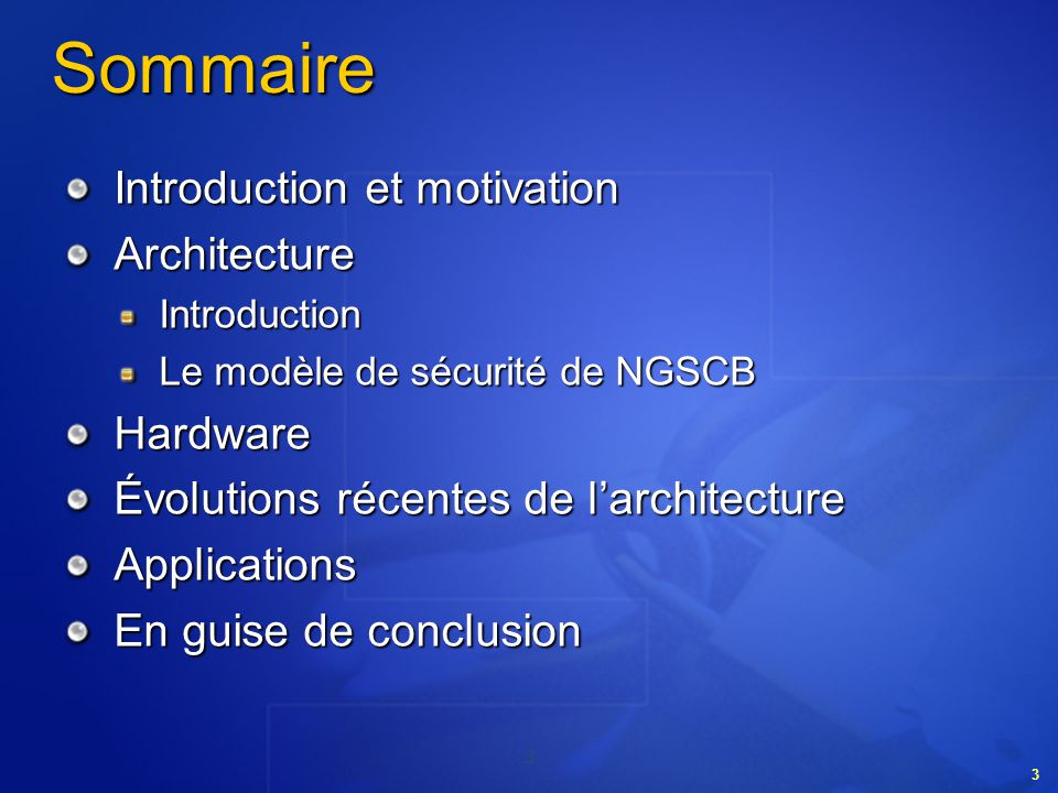 Sommaire Introduction et motivation Architecture Hardware