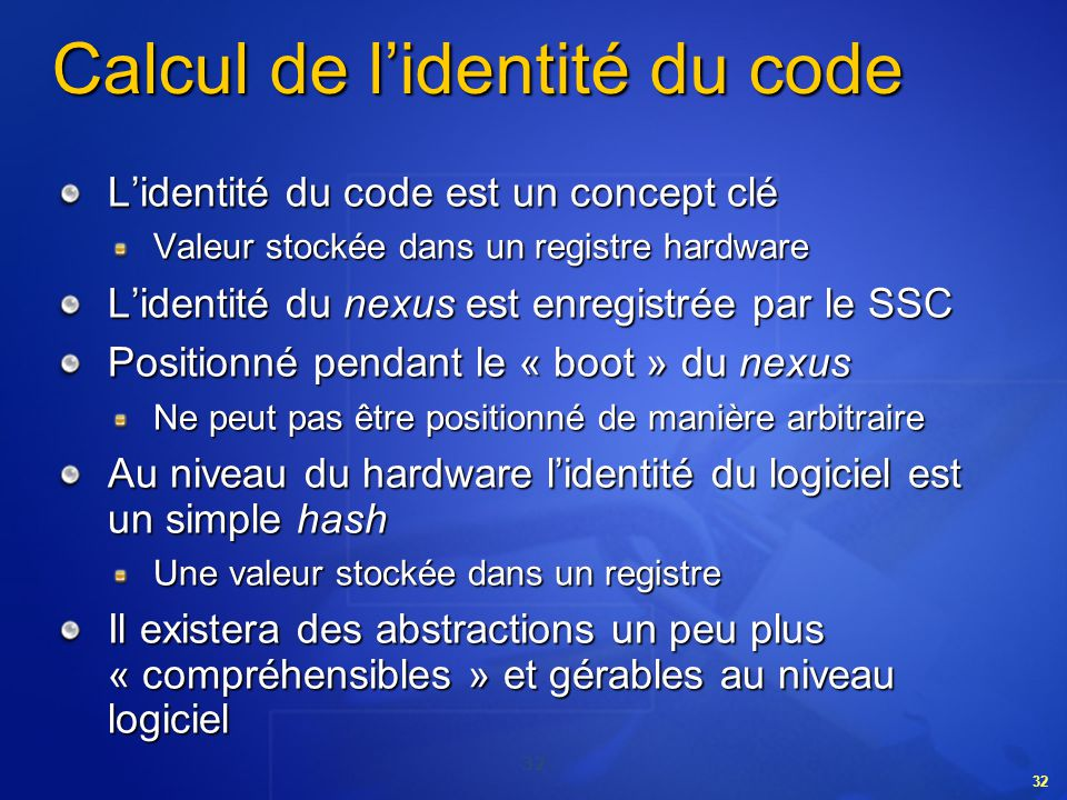 Calcul de l'identité du code
