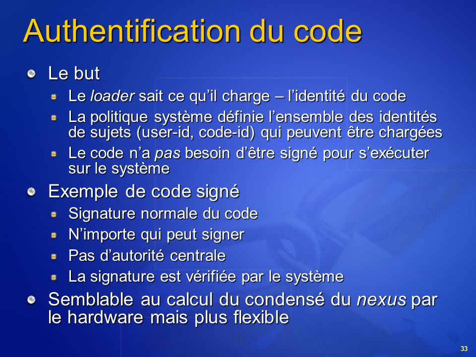 Authentification du code