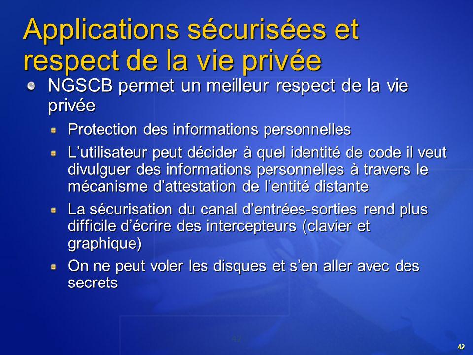 Applications sécurisées et respect de la vie privée