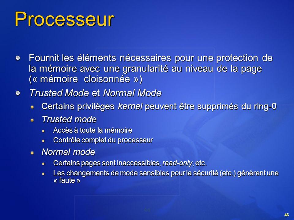 Processeur Fournit les éléments nécessaires pour une protection de la mémoire avec une granularité au niveau de la page (« mémoire cloisonnée »)