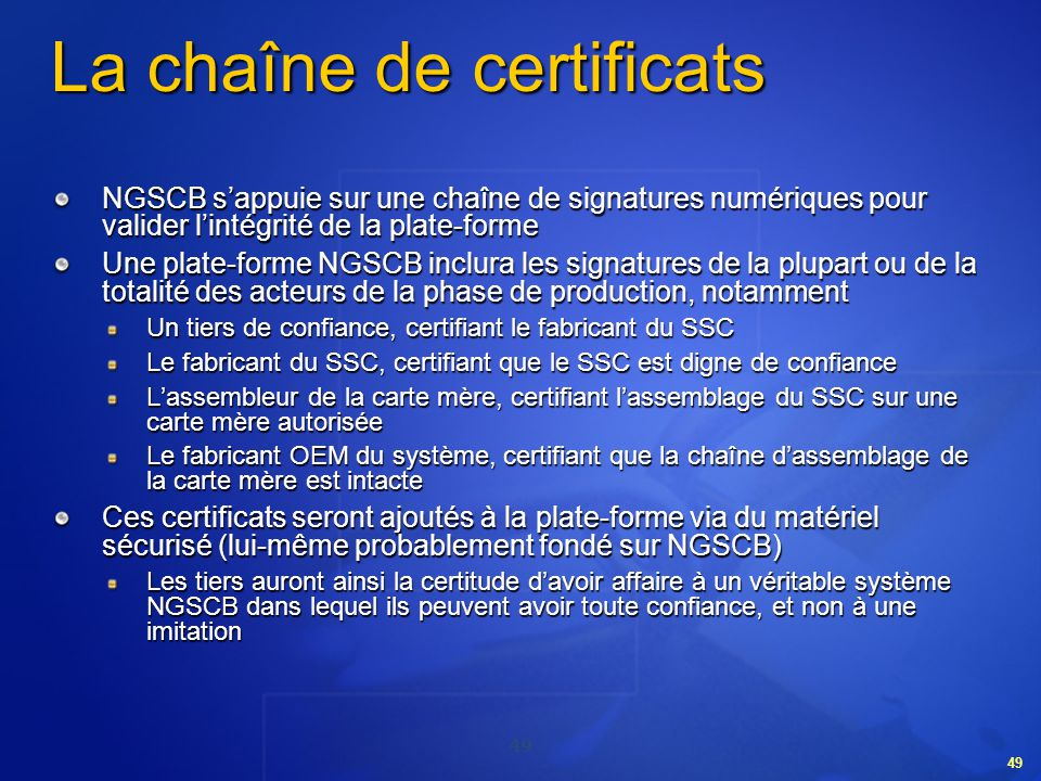 La chaîne de certificats