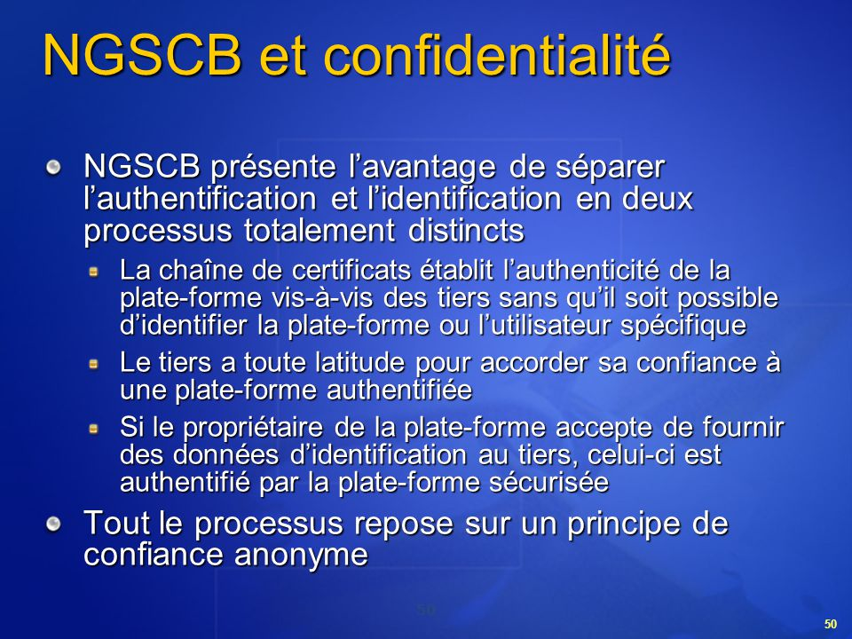 NGSCB et confidentialité