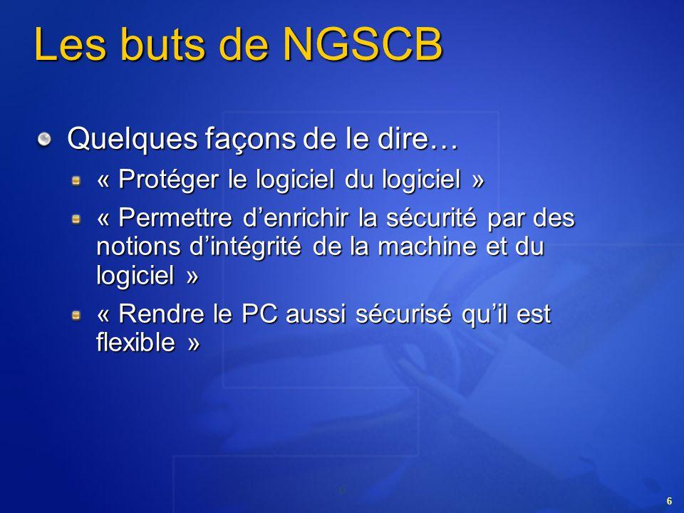 Les buts de NGSCB Quelques façons de le dire…