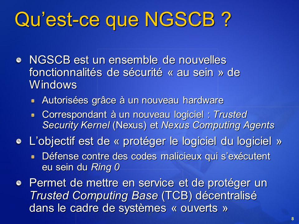 Qu'est-ce que NGSCB NGSCB est un ensemble de nouvelles fonctionnalités de sécurité « au sein » de Windows.