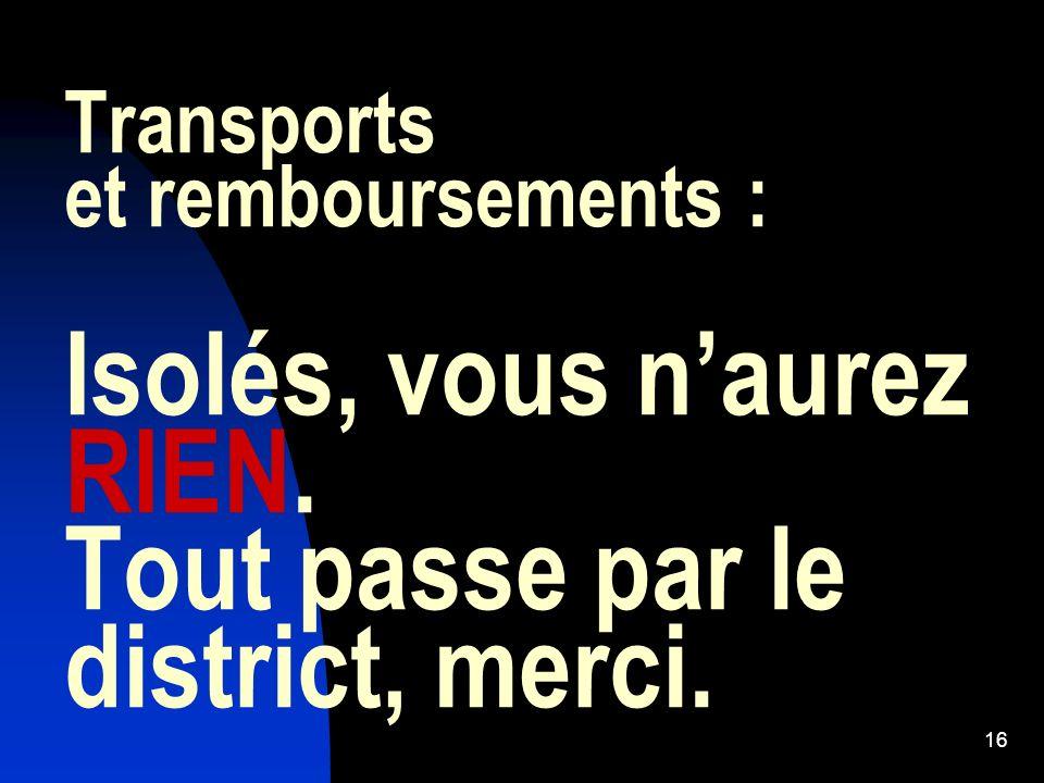 Transports et remboursements : Isolés, vous n'aurez RIEN
