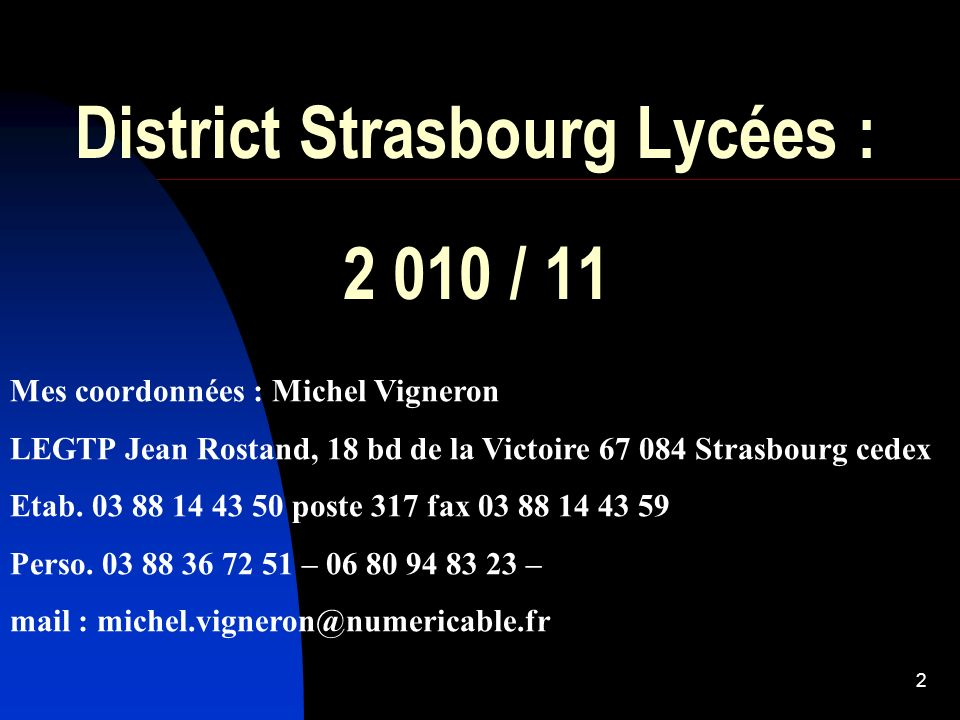 District Strasbourg Lycées : 2 010 / 11